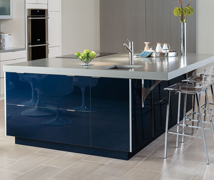 Contemporary Kitchen Acrylic Indigo and Calais K4